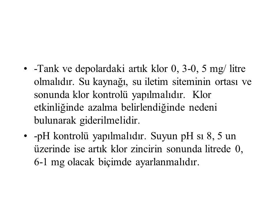 -Tank ve depolardaki artık klor 0, 3-0, 5 mg/ litre olmalıdır