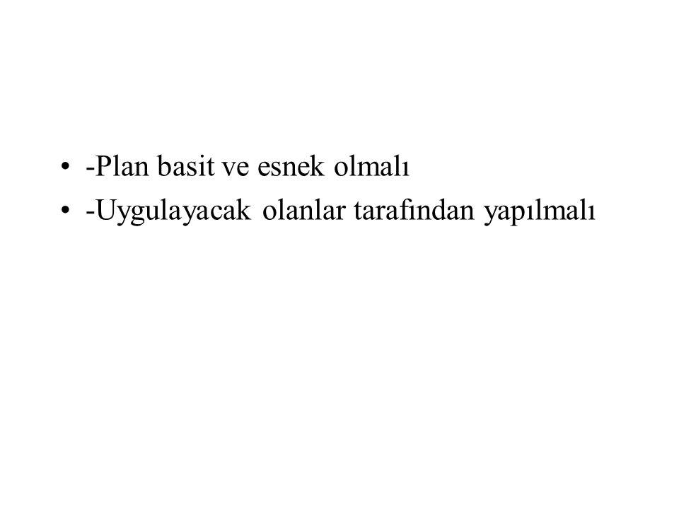 -Plan basit ve esnek olmalı