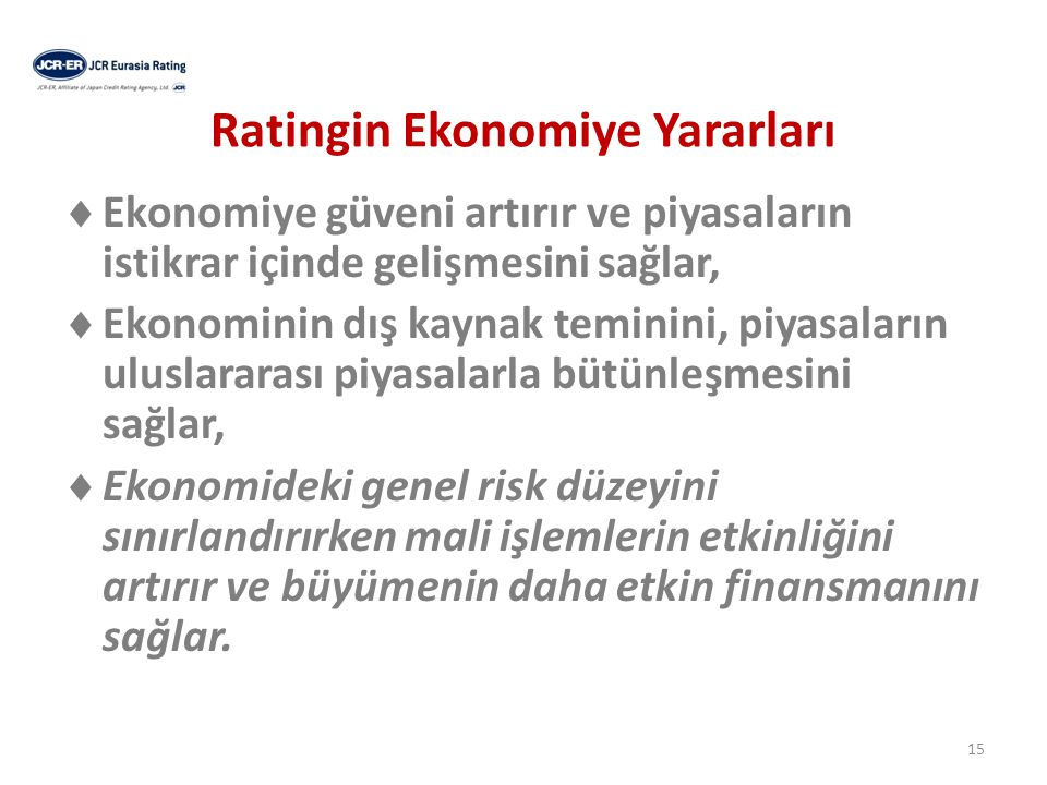 Ratingin Ekonomiye Yararları