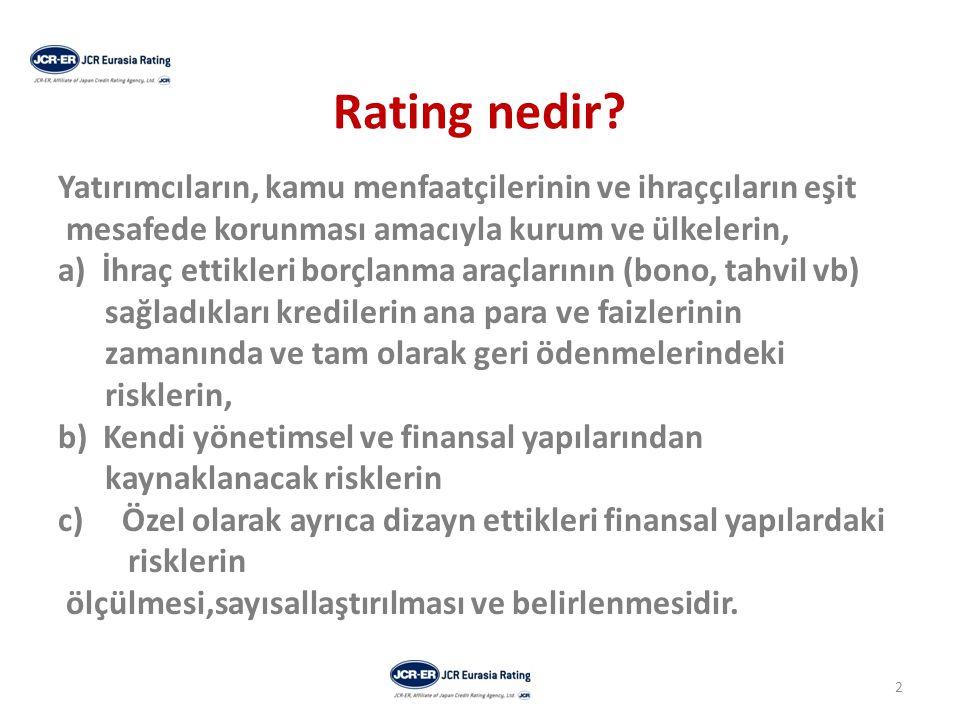 Rating nedir Yatırımcıların, kamu menfaatçilerinin ve ihraççıların eşit. mesafede korunması amacıyla kurum ve ülkelerin,