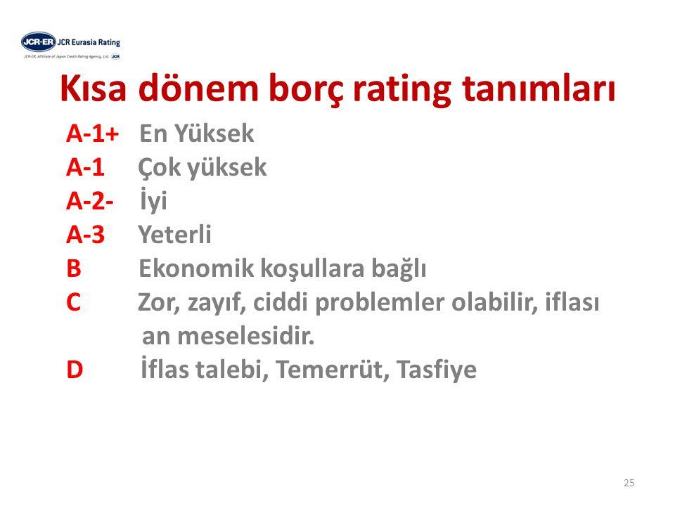 Kısa dönem borç rating tanımları