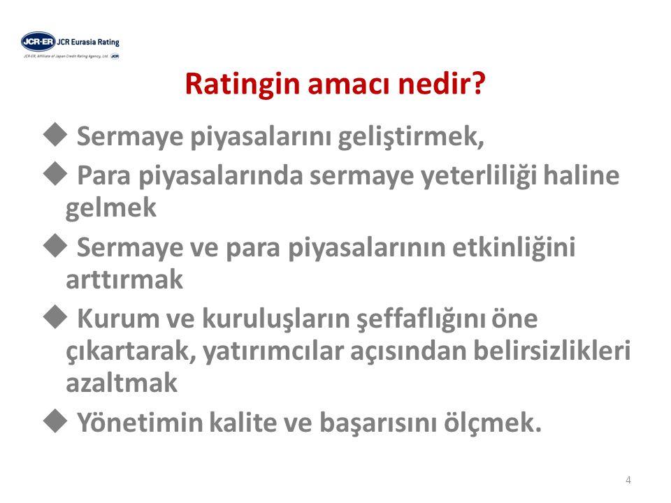 Ratingin amacı nedir  Sermaye piyasalarını geliştirmek,