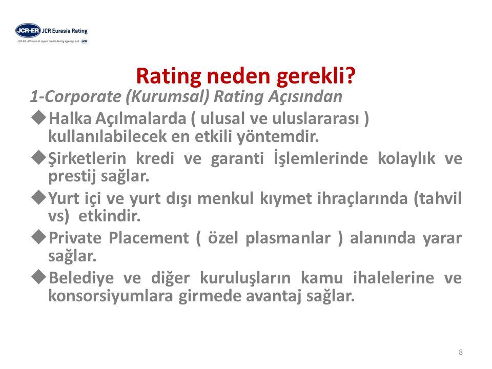 Rating neden gerekli 1-Corporate (Kurumsal) Rating Açısından