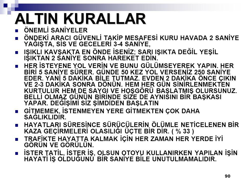 ALTIN KURALLAR ÖNEMLİ SANİYELER