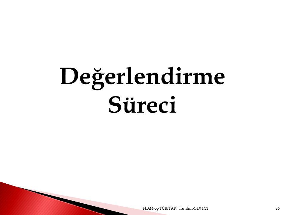 Değerlendirme Süreci H.Akkoç-TÜBİTAK Tanıtım-14.04.11