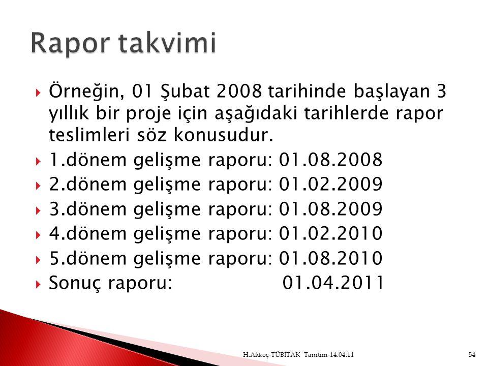 Rapor takvimi Örneğin, 01 Şubat 2008 tarihinde başlayan 3 yıllık bir proje için aşağıdaki tarihlerde rapor teslimleri söz konusudur.
