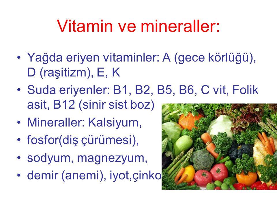 Vitamin ve mineraller: