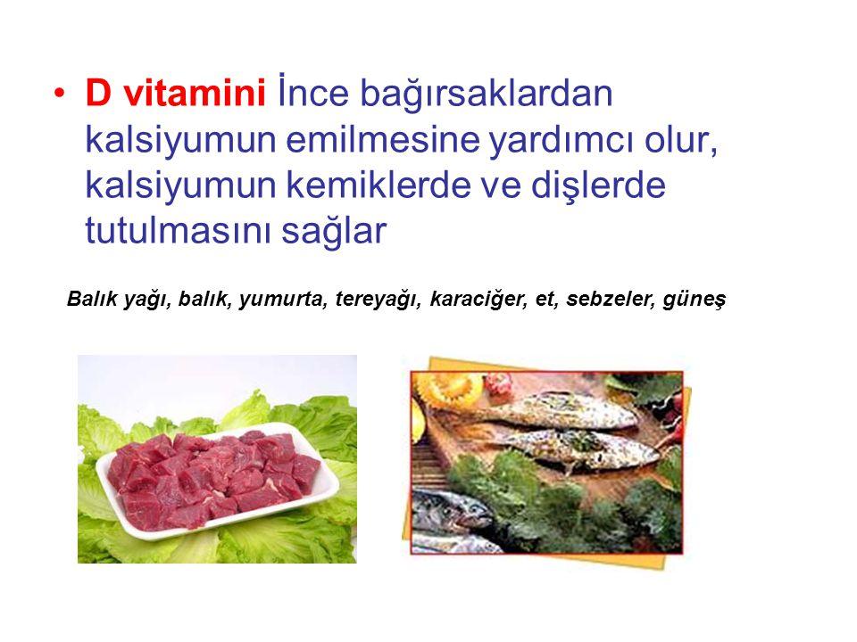 D vitamini İnce bağırsaklardan kalsiyumun emilmesine yardımcı olur, kalsiyumun kemiklerde ve dişlerde tutulmasını sağlar