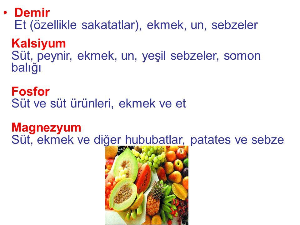 Demir Et (özellikle sakatatlar), ekmek, un, sebzeler