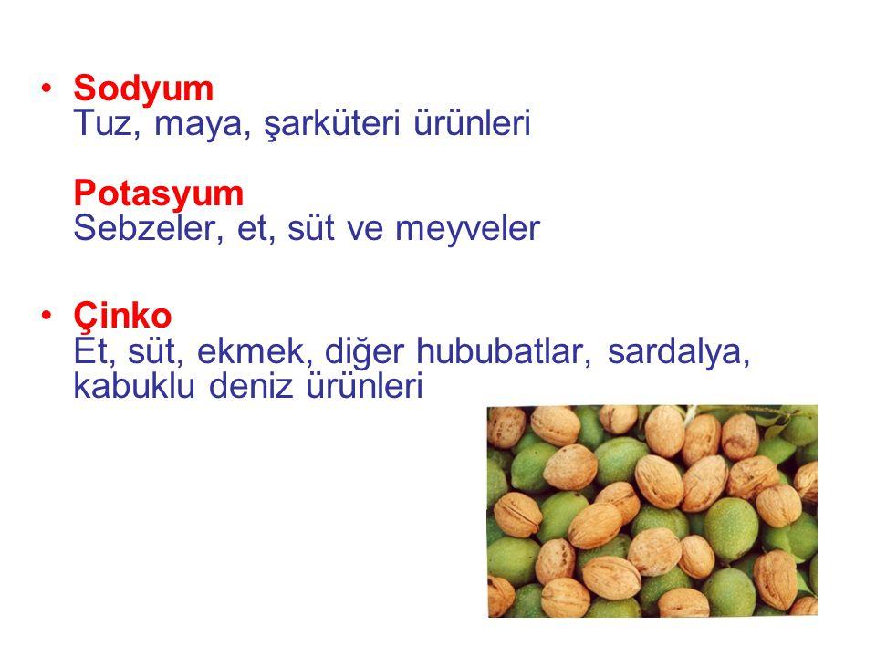 Sodyum Tuz, maya, şarküteri ürünleri Potasyum Sebzeler, et, süt ve meyveler