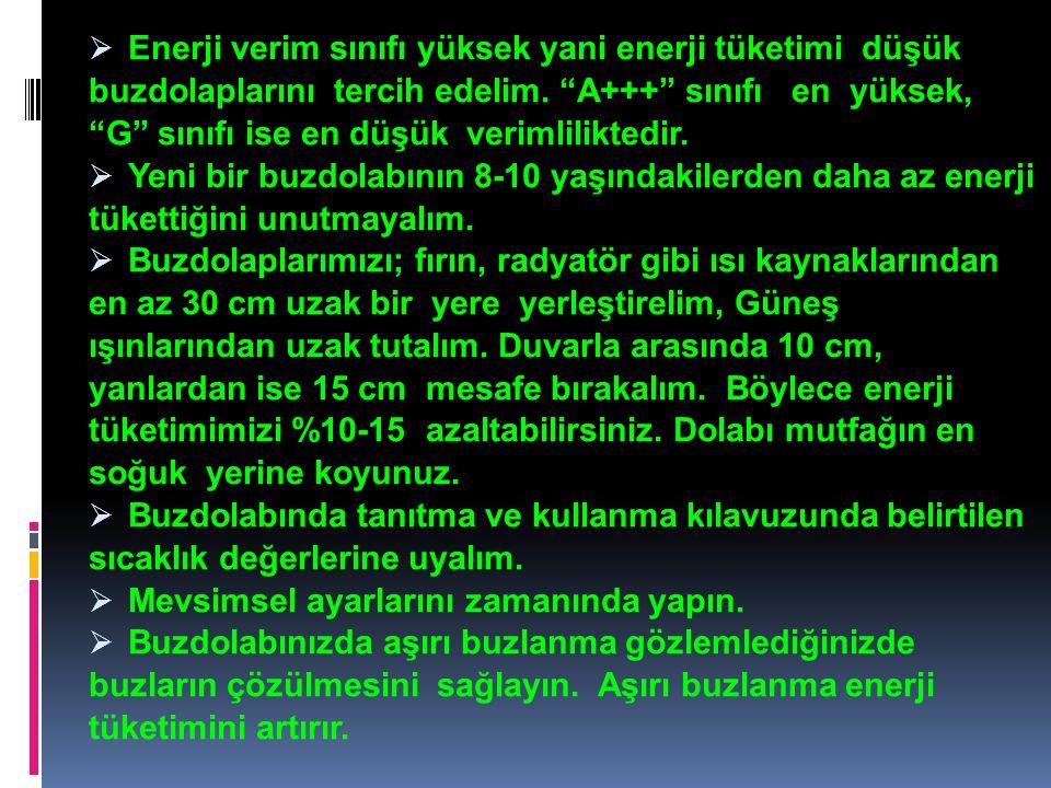 Enerji verim sınıfı yüksek yani enerji tüketimi düşük