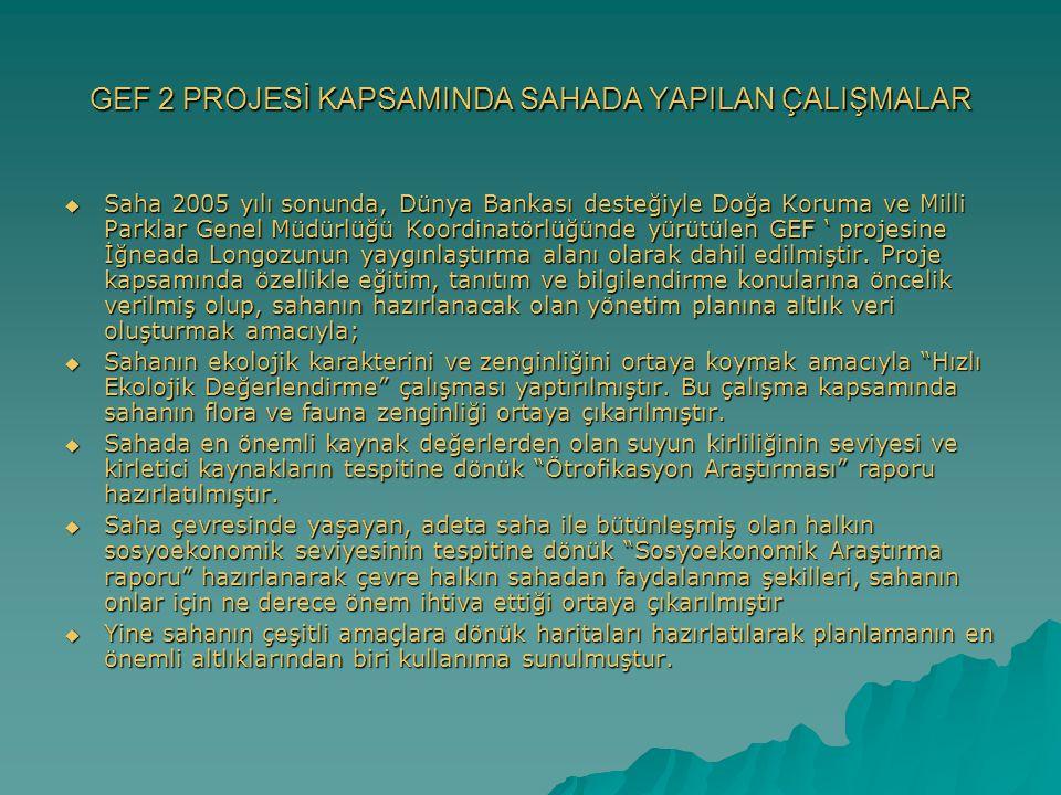 GEF 2 PROJESİ KAPSAMINDA SAHADA YAPILAN ÇALIŞMALAR