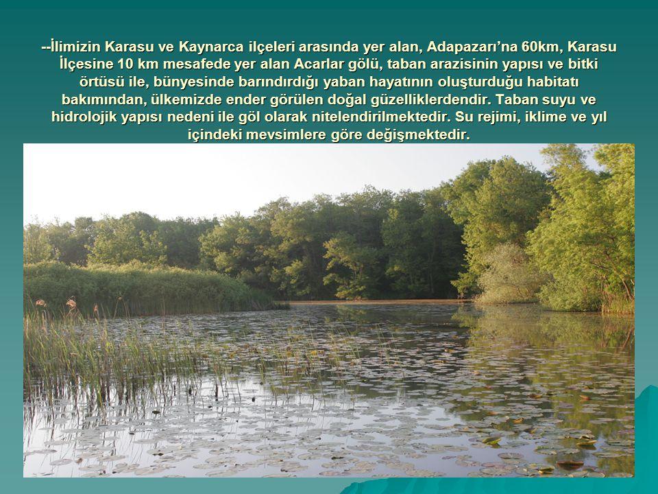 --İlimizin Karasu ve Kaynarca ilçeleri arasında yer alan, Adapazarı'na 60km, Karasu İlçesine 10 km mesafede yer alan Acarlar gölü, taban arazisinin yapısı ve bitki örtüsü ile, bünyesinde barındırdığı yaban hayatının oluşturduğu habitatı bakımından, ülkemizde ender görülen doğal güzelliklerdendir.