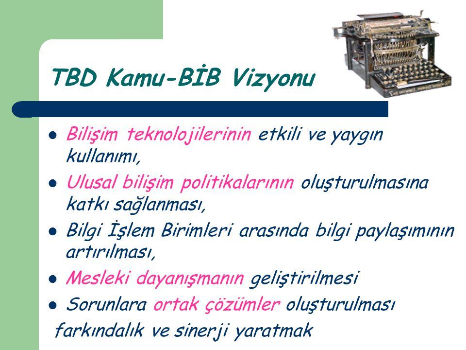 TBD Kamu-BİB Vizyonu Bilişim teknolojilerinin etkili ve yaygın kullanımı, Ulusal bilişim politikalarının oluşturulmasına katkı sağlanması,