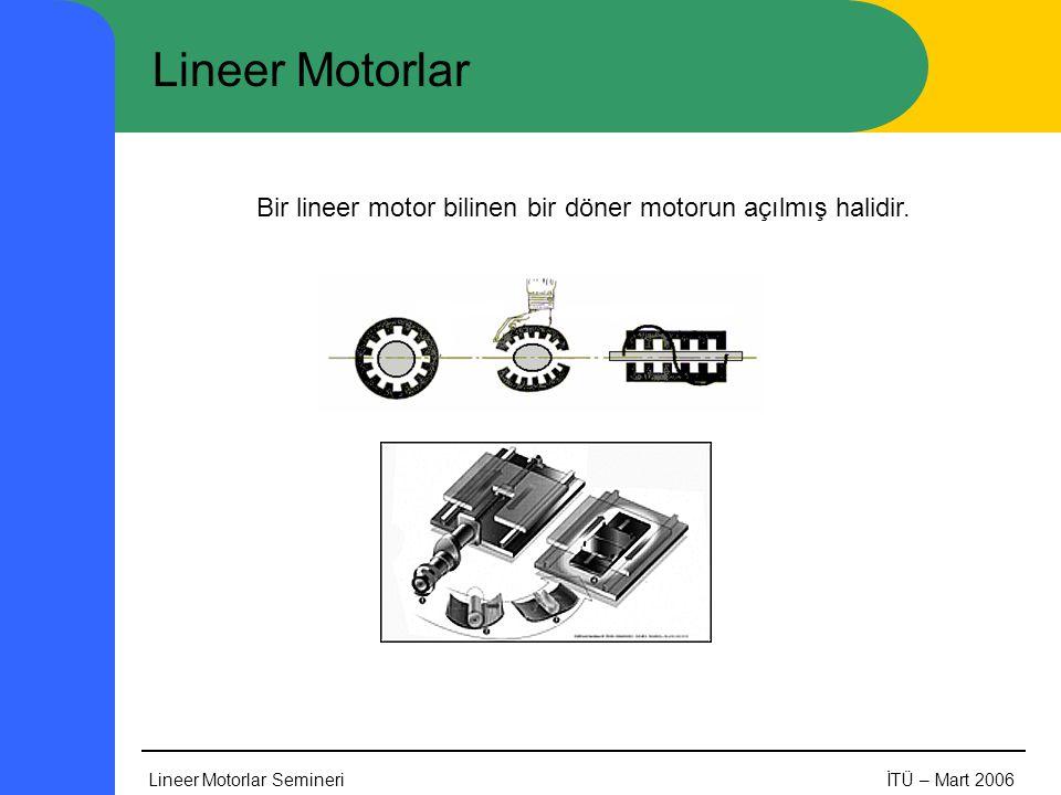 Bir lineer motor bilinen bir döner motorun açılmış halidir.