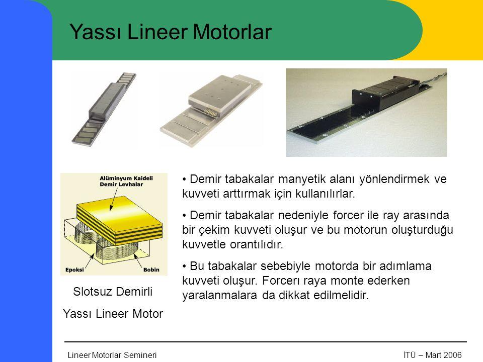 Yassı Lineer Motorlar Demir tabakalar manyetik alanı yönlendirmek ve kuvveti arttırmak için kullanılırlar.