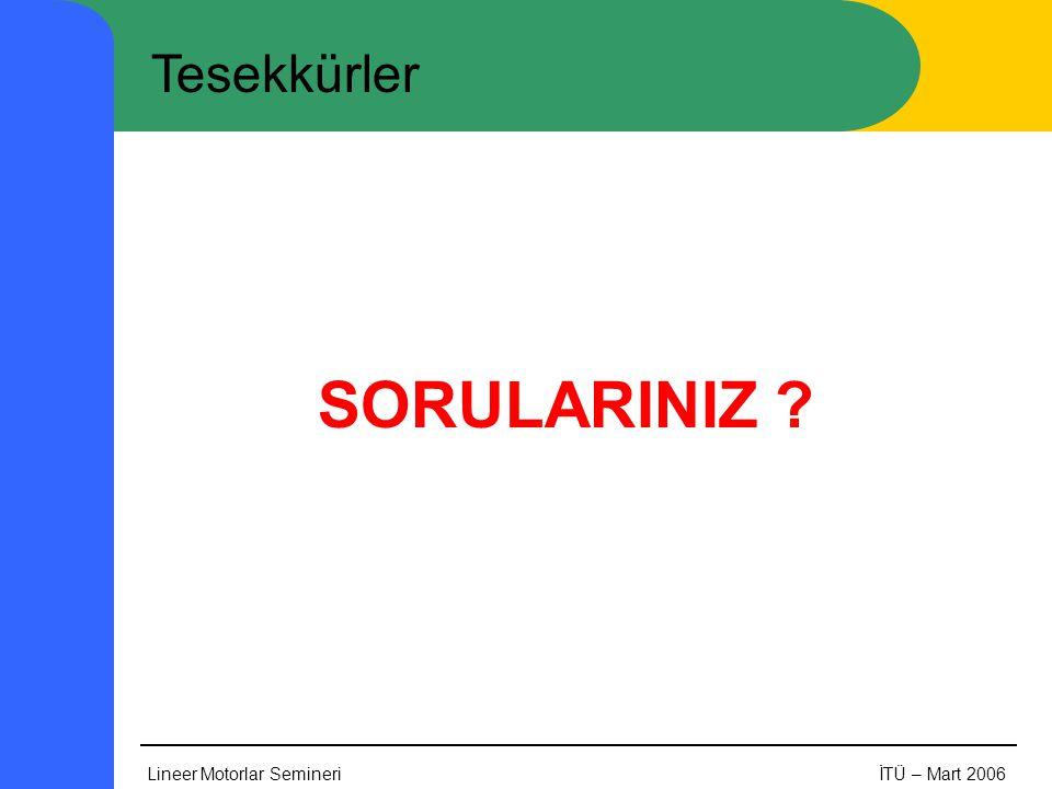 Tesekkürler SORULARINIZ Lineer Motorlar Semineri İTÜ – Mart 2006