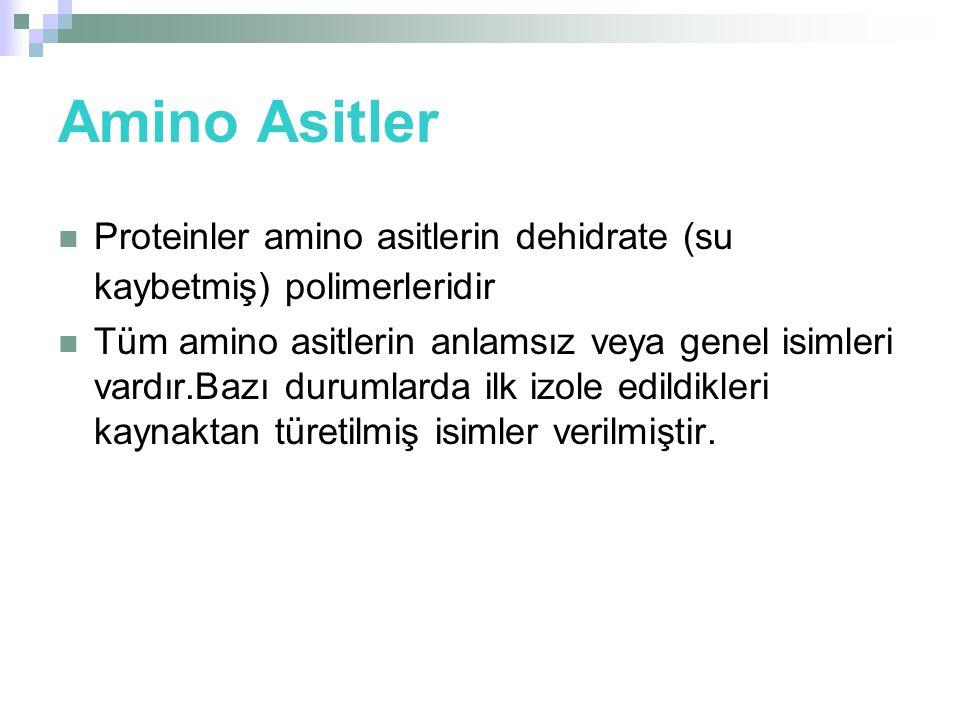 Amino Asitler Proteinler amino asitlerin dehidrate (su kaybetmiş) polimerleridir.