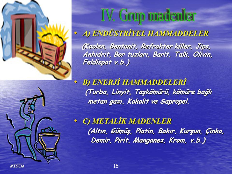 IV. Grup madenler A) ENDÜSTRİYEL HAMMADDELER.