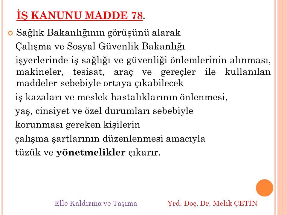 İŞ KANUNU MADDE 78. Sağlık Bakanlığının görüşünü alarak