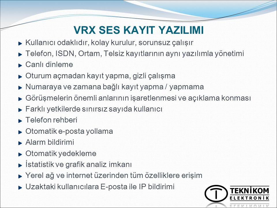 VRX SES KAYIT YAZILIMI Kullanıcı odaklıdır, kolay kurulur, sorunsuz çalışır. Telefon, ISDN, Ortam, Telsiz kayıtlarının aynı yazılımla yönetimi.