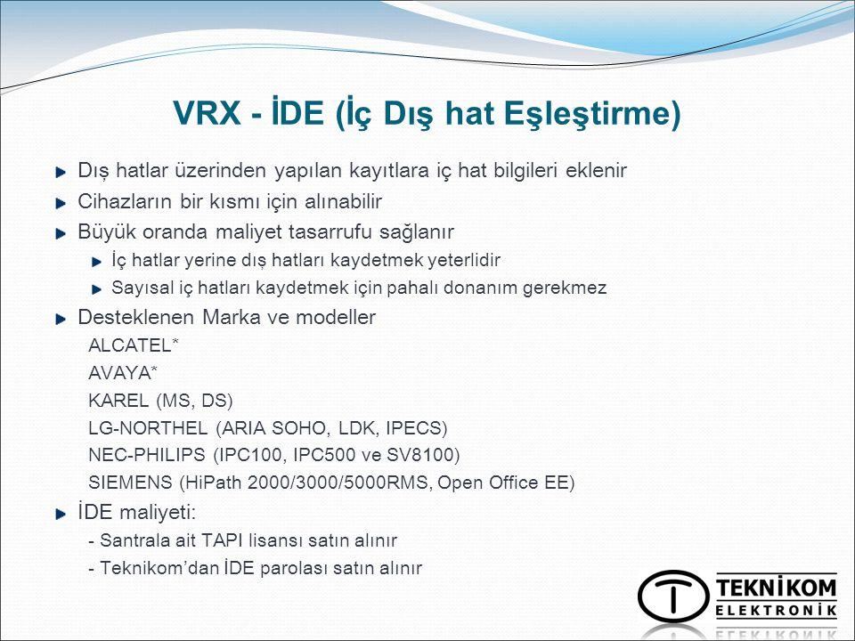 VRX - İDE (İç Dış hat Eşleştirme)