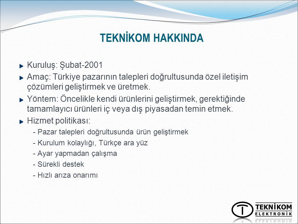 TEKNİKOM HAKKINDA Kuruluş: Şubat-2001