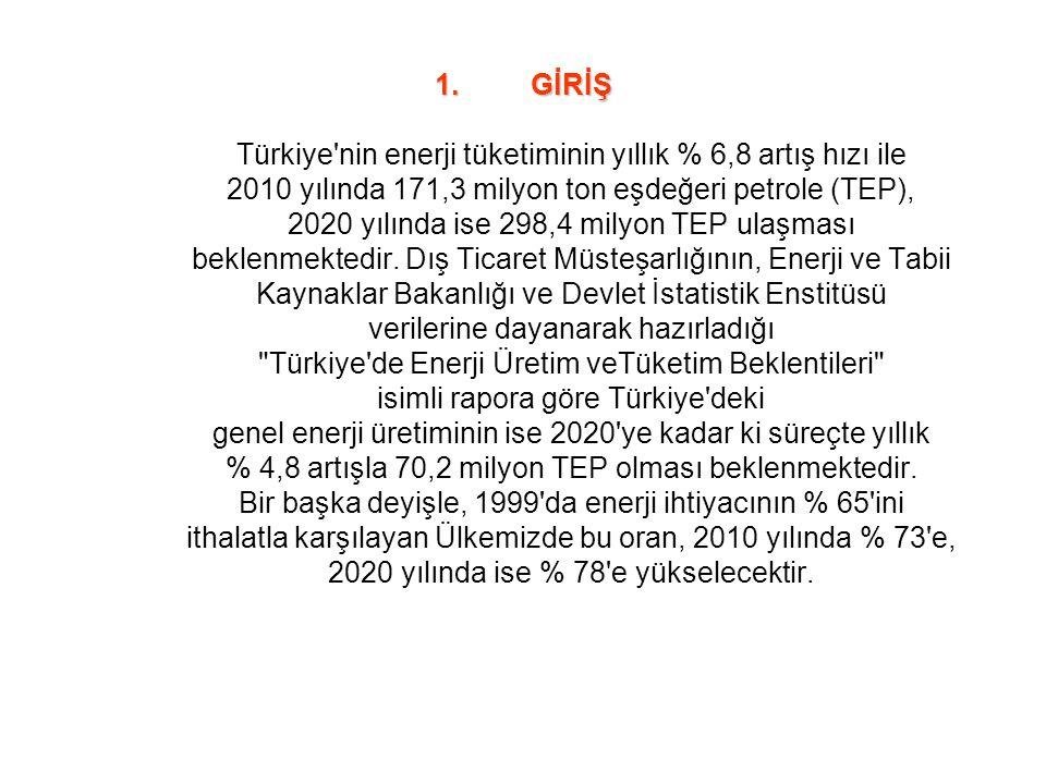 GİRİŞ Türkiye nin enerji tüketiminin yıllık % 6,8 artış hızı ile 2010 yılında 171,3 milyon ton eşdeğeri petrole (TEP), 2020 yılında ise 298,4 milyon TEP ulaşması beklenmektedir.