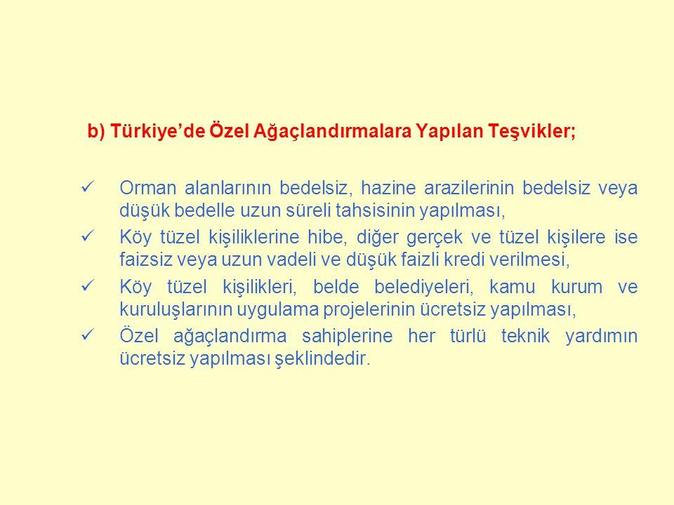 b) Türkiye'de Özel Ağaçlandırmalara Yapılan Teşvikler;