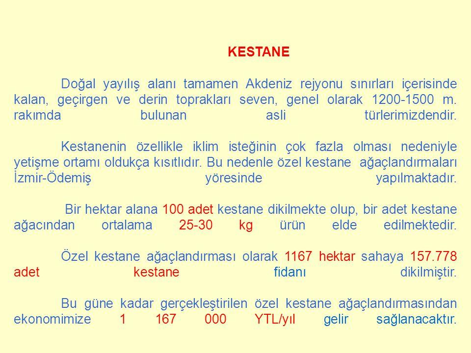 KESTANE Doğal yayılış alanı tamamen Akdeniz rejyonu sınırları içerisinde kalan, geçirgen ve derin toprakları seven, genel olarak 1200-1500 m.