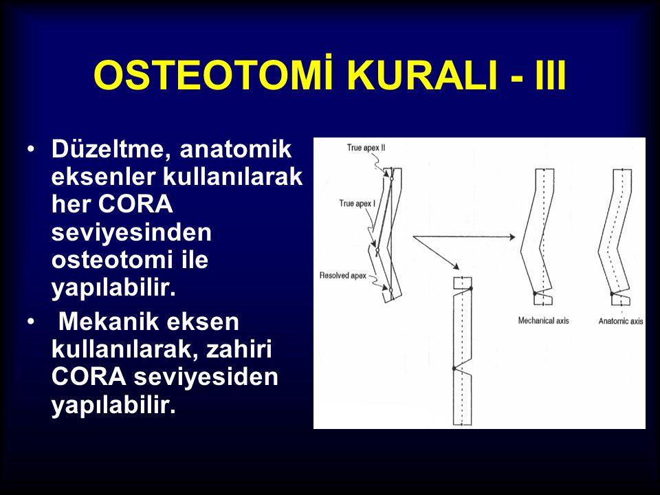 OSTEOTOMİ KURALI - III Düzeltme, anatomik eksenler kullanılarak her CORA seviyesinden osteotomi ile yapılabilir.