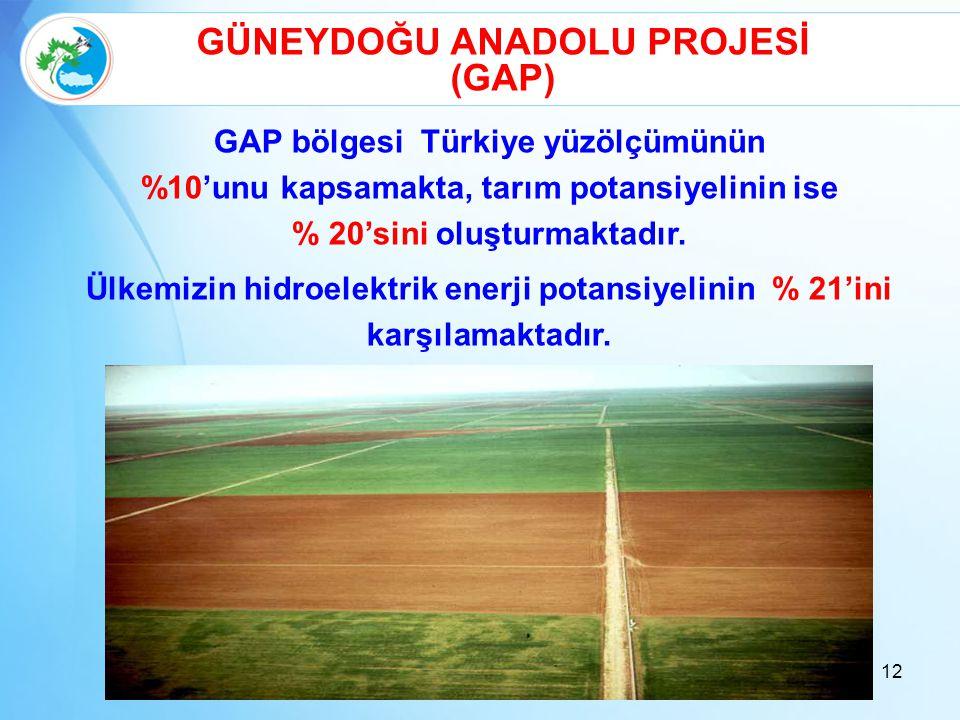 GÜNEYDOĞU ANADOLU PROJESİ GAP bölgesi Türkiye yüzölçümünün