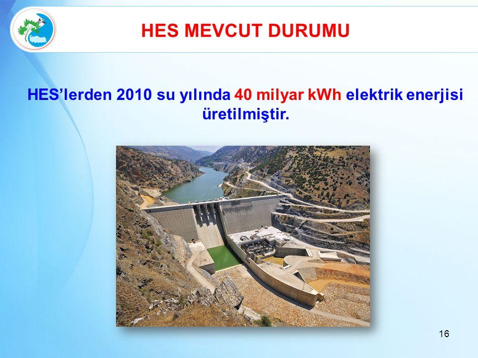 HES MEVCUT DURUMU HES'lerden 2010 su yılında 40 milyar kWh elektrik enerjisi üretilmiştir.