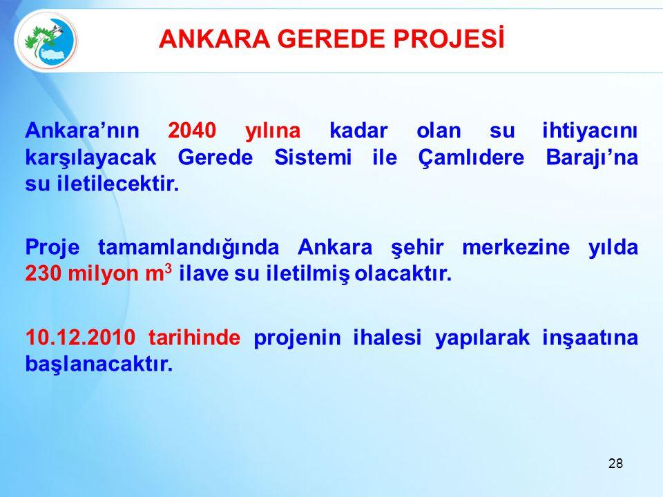 ANKARA GEREDE PROJESİ Ankara'nın 2040 yılına kadar olan su ihtiyacını karşılayacak Gerede Sistemi ile Çamlıdere Barajı'na su iletilecektir.