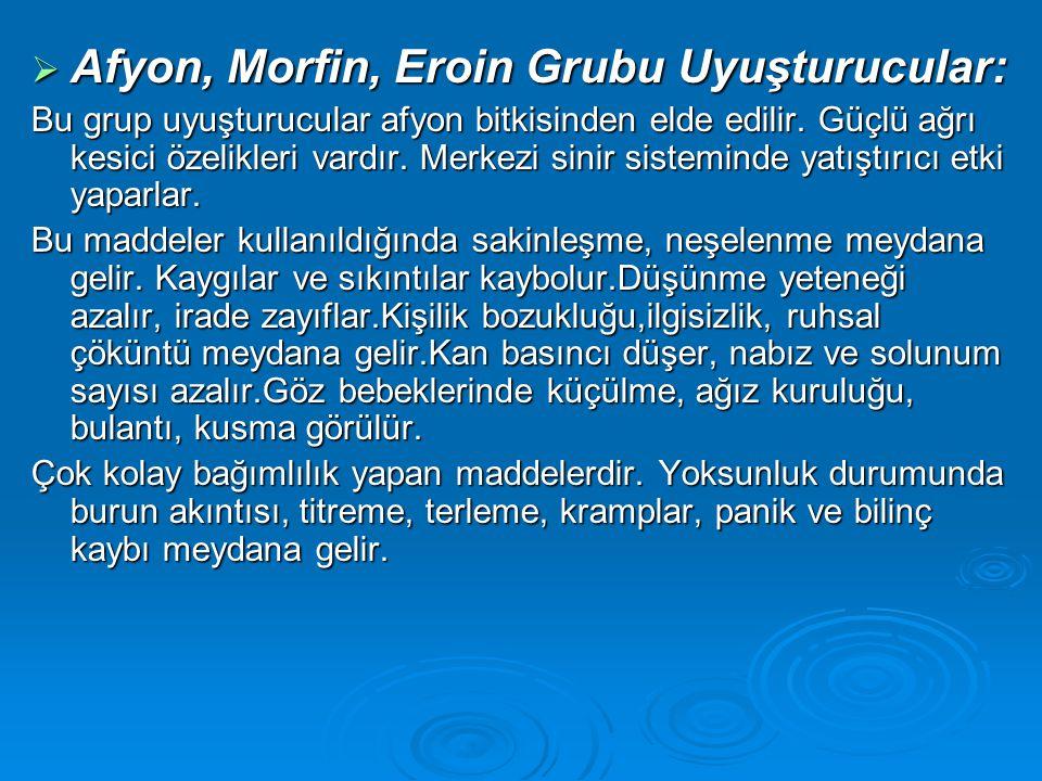 Afyon, Morfin, Eroin Grubu Uyuşturucular: