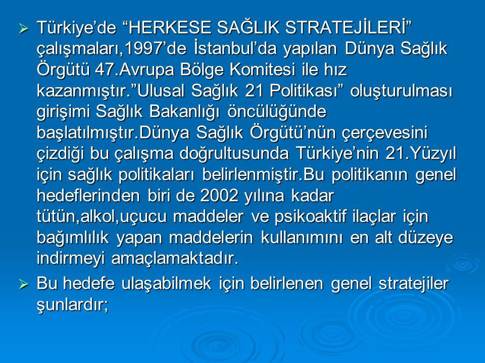 Türkiye'de HERKESE SAĞLIK STRATEJİLERİ çalışmaları,1997'de İstanbul'da yapılan Dünya Sağlık Örgütü 47.Avrupa Bölge Komitesi ile hız kazanmıştır. Ulusal Sağlık 21 Politikası oluşturulması girişimi Sağlık Bakanlığı öncülüğünde başlatılmıştır.Dünya Sağlık Örgütü'nün çerçevesini çizdiği bu çalışma doğrultusunda Türkiye'nin 21.Yüzyıl için sağlık politikaları belirlenmiştir.Bu politikanın genel hedeflerinden biri de 2002 yılına kadar tütün,alkol,uçucu maddeler ve psikoaktif ilaçlar için bağımlılık yapan maddelerin kullanımını en alt düzeye indirmeyi amaçlamaktadır.