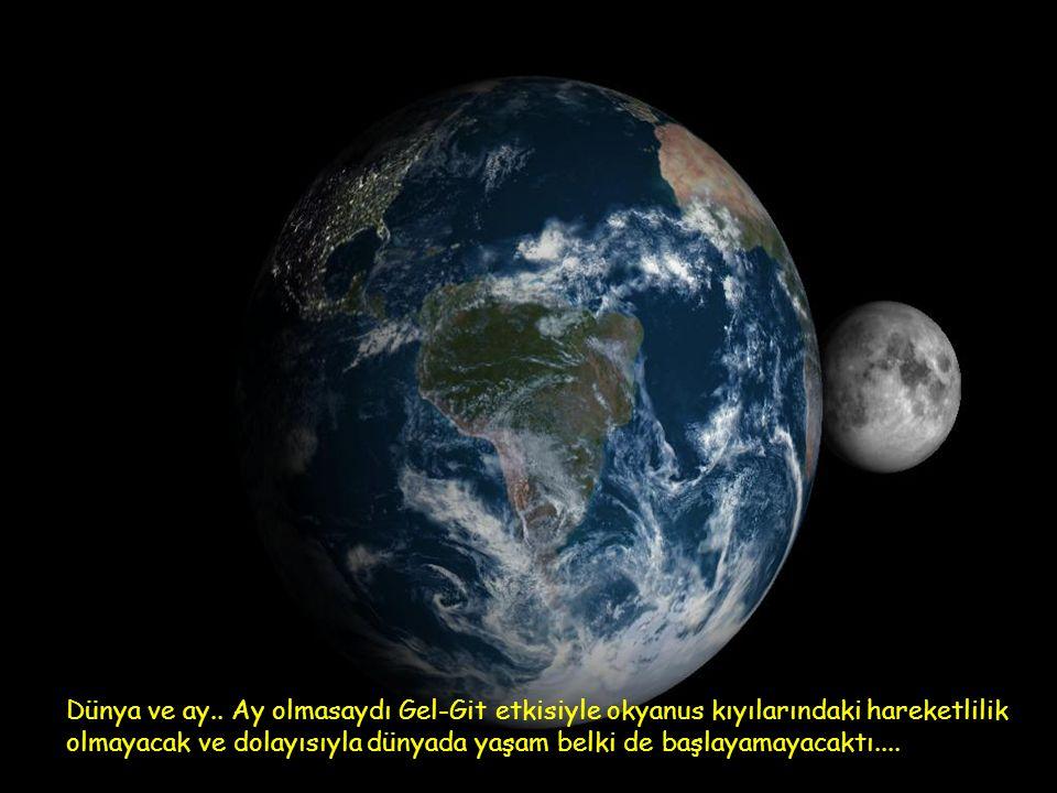 Dünya ve ay.. Ay olmasaydı Gel-Git etkisiyle okyanus kıyılarındaki hareketlilik