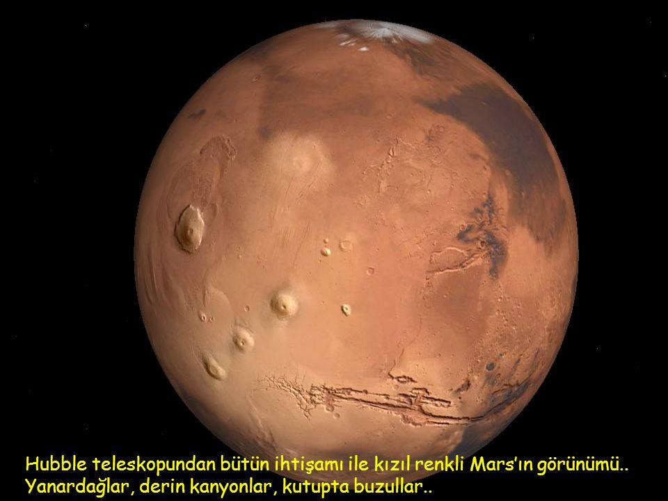 Hubble teleskopundan bütün ihtişamı ile kızıl renkli Mars'ın görünümü..