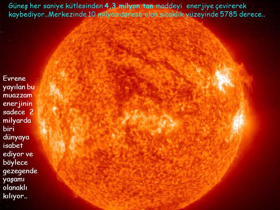 Güneş her saniye kütlesinden 4,3 milyon ton maddeyi enerjiye çevirerek kaybediyor..Merkezinde 10 milyon derece olan sıcaklık yüzeyinde 5785 derece..