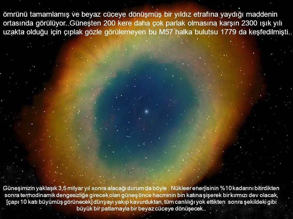 ömrünü tamamlamış ve beyaz cüceye dönüşmüş bir yıldız etrafına yaydığı maddenin ortasında görülüyor..Güneşten 200 kere daha çok parlak olmasına karşın 2300 ışık yılı uzakta olduğu için çıplak gözle görülemeyen bu M57 halka bulutsu 1779 da keşfedilmişti..