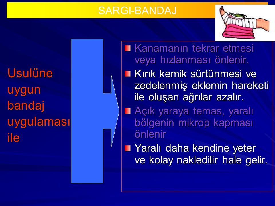 Usulüne uygun bandaj uygulaması ile SARGI-BANDAJ