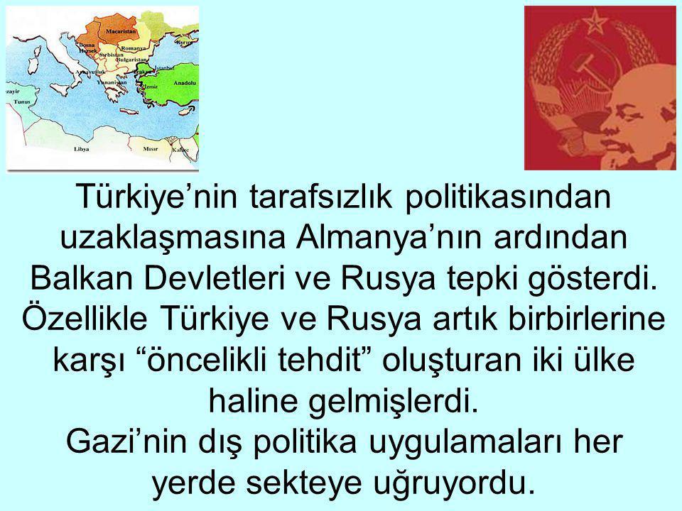 Türkiye'nin tarafsızlık politikasından uzaklaşmasına Almanya'nın ardından Balkan Devletleri ve Rusya tepki gösterdi.