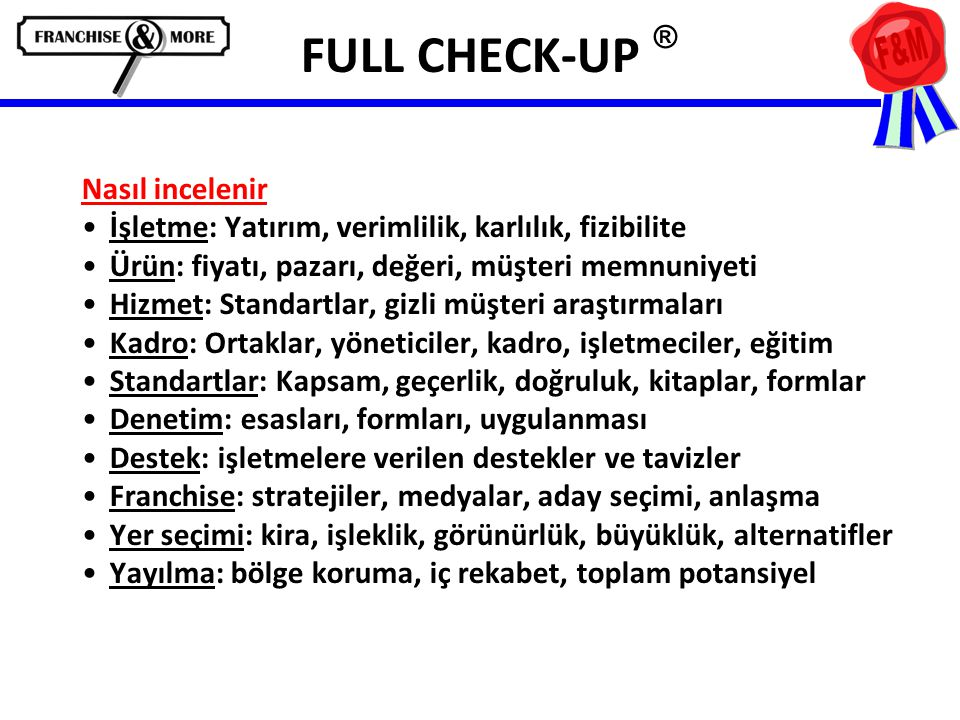 FULL CHECK-UP ® Nasıl incelenir