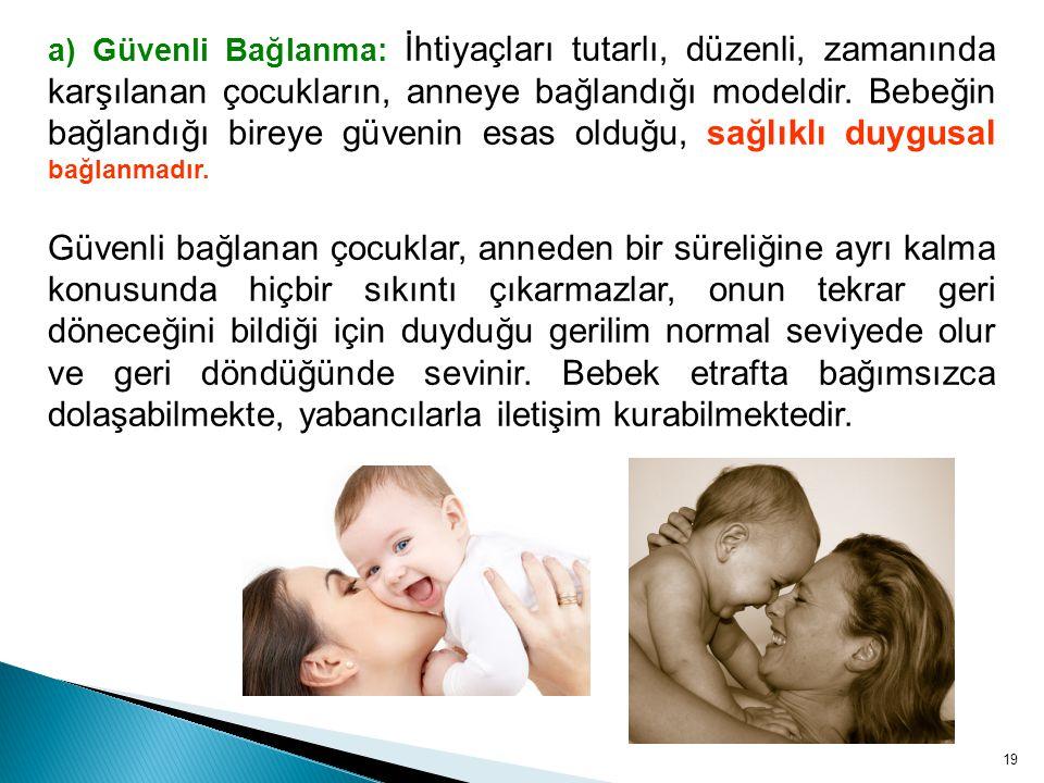 a) Güvenli Bağlanma: İhtiyaçları tutarlı, düzenli, zamanında karşılanan çocukların, anneye bağlandığı modeldir. Bebeğin bağlandığı bireye güvenin esas olduğu, sağlıklı duygusal bağlanmadır.