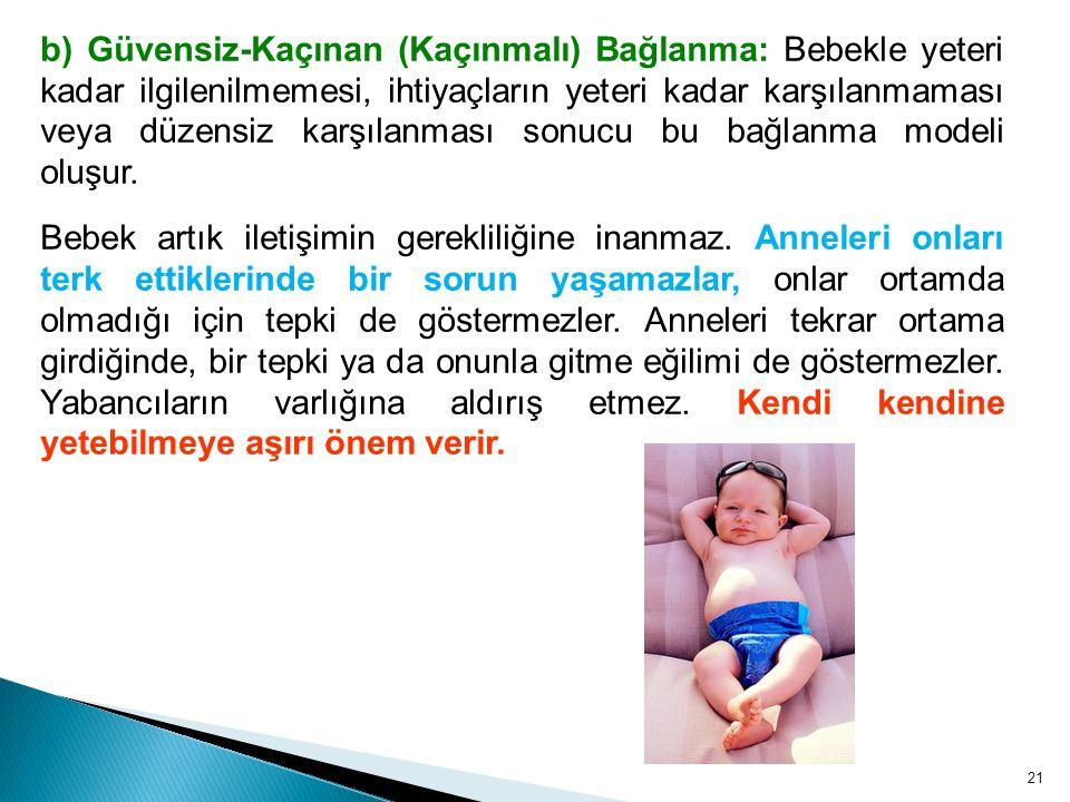 b) Güvensiz-Kaçınan (Kaçınmalı) Bağlanma: Bebekle yeteri kadar ilgilenilmemesi, ihtiyaçların yeteri kadar karşılanmaması veya düzensiz karşılanması sonucu bu bağlanma modeli oluşur.