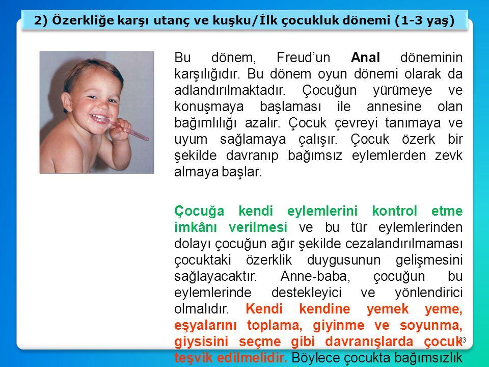 2) Özerkliğe karşı utanç ve kuşku/İlk çocukluk dönemi (1-3 yaş)