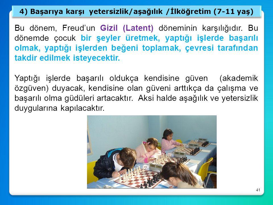 4) Başarıya karşı yetersizlik/aşağılık /İlköğretim (7-11 yaş)