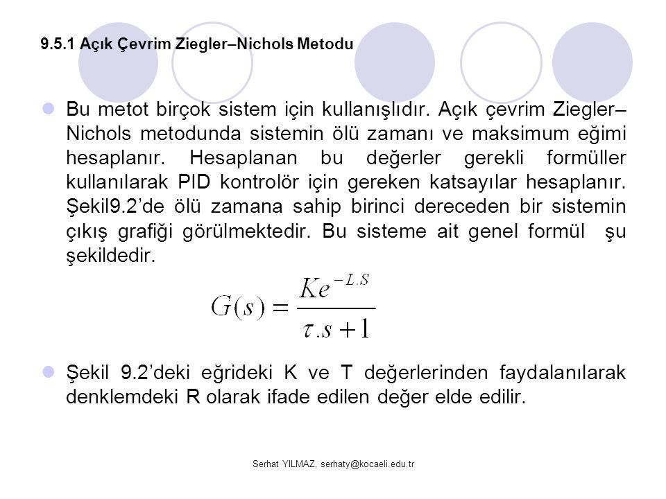 9.5.1 Açık Çevrim Ziegler–Nichols Metodu