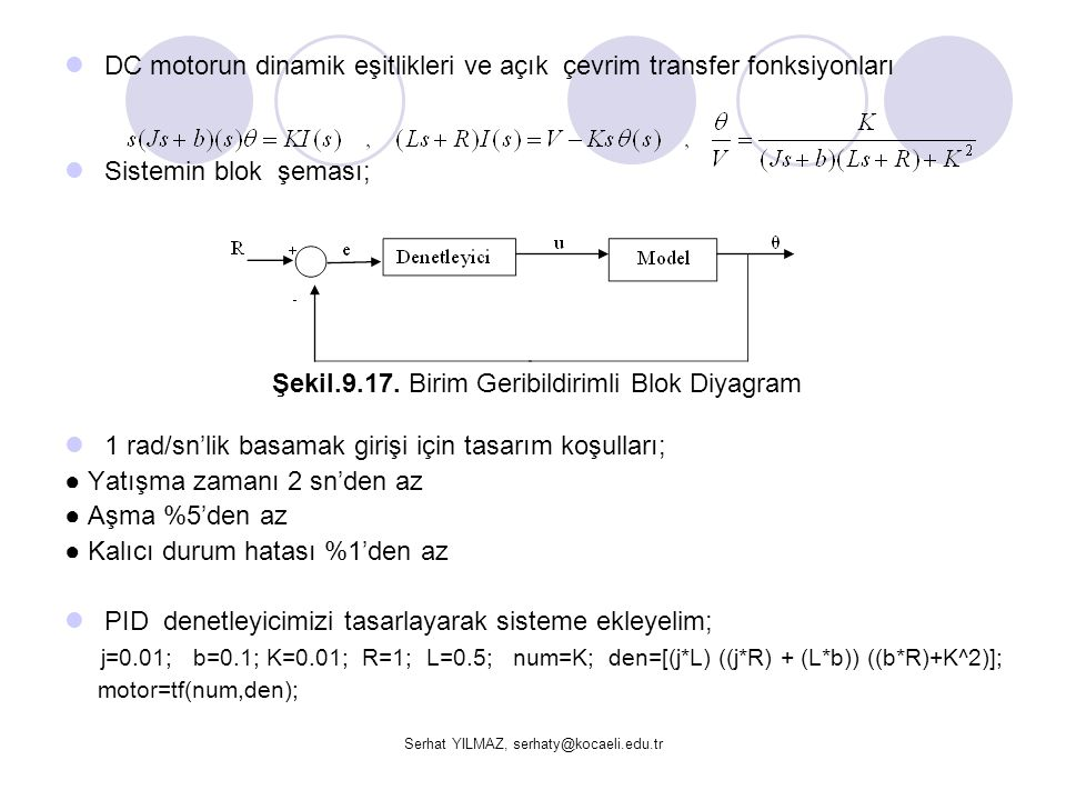 DC motorun dinamik eşitlikleri ve açık çevrim transfer fonksiyonları