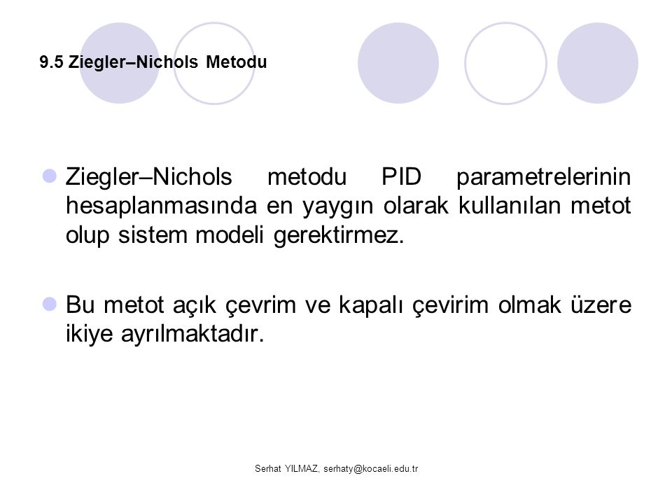 9.5 Ziegler–Nichols Metodu